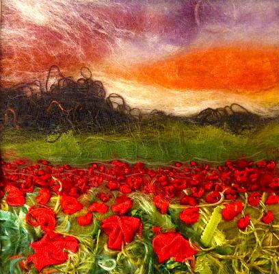 Poppy fields. mixed media textile
