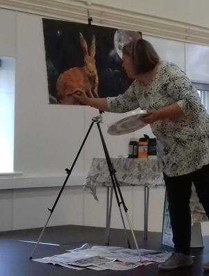 Demonstrating at a local Art Group