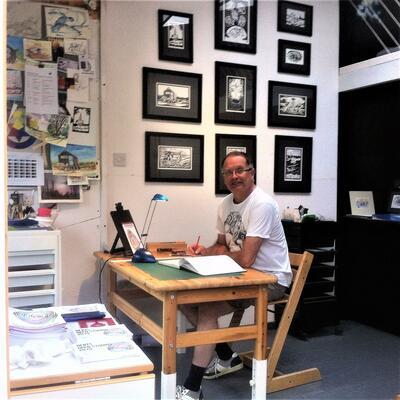 Sketching in my studio last summer just before Open Studio.