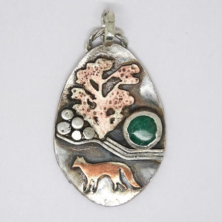 River fox pendant. Recycled mixed metals.