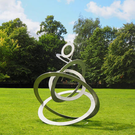 Sky Circles.  Stainless steel sculpture