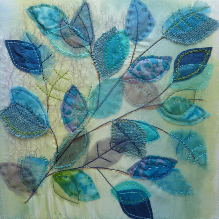 Leaves, textiles, machine and hand stitch