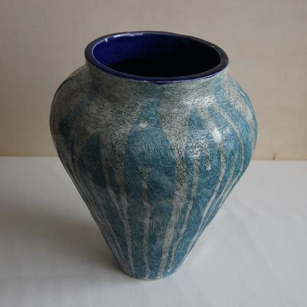 Hand-coiled classical style ceramic pot
