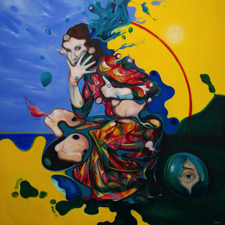 Oil painting 'The Truth of a Lie' by Kevin Gavaghan 90x90cm