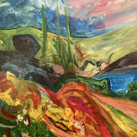 Colourful abstract expressive landscape