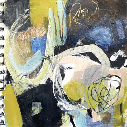 Notes from Inside - painting in acrylic & graphite on paper