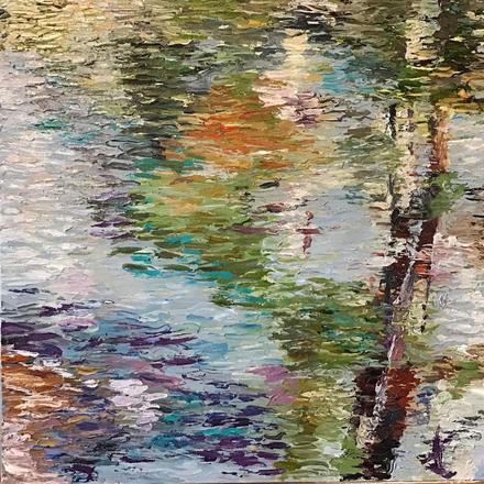 Reflections, water, textured, impressionist