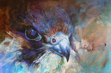 up close and personal 1. Mixed media wildlife  painting on paper by Suzy Drake