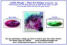 Glass Wall Art & hand made Glass Art Bowls Themes: Gemstones, Birthstones, Anniversary stones