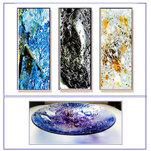 Periodic Table of Elements as Art: ( Minerals - copper, tin, gold, platinum) Contemporary abstract glass wall art panels & large sculptural Glass Art Bowls (Birthstones: Tanzanite, Amethyst, Anniversary Stones: Emerald, Pearl, Ruby, Gold)