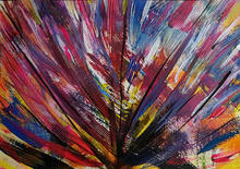 Showgirl II by J R Oatts. Acrylic on paper painting of showgirl feathers in motion.