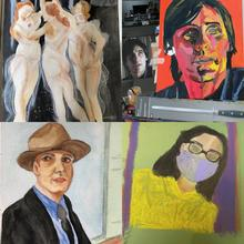 Examples of art works by my adult art students produced, during my online zoom art classes.